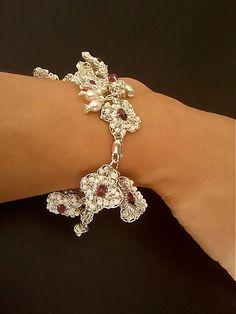 Bridal Pearl Bracelet Silver Garnet Four by PearlJewelryNecklace, $158.00