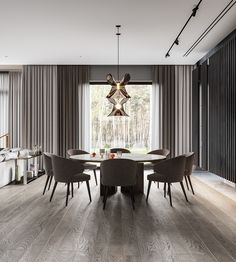 Luxury home with a modern glamorous interior. A cool grey colour scheme with gold and green decor accents, modern furniture, and unique designer lighting ideas. Gray Dining Chairs, Dining Nook, Staircase Design, Living Room Grey, Home Office Design, House Design, Lounge Areas, Classic House, Open Plan Living