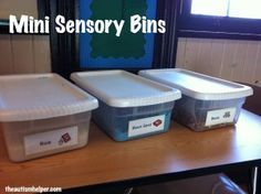 Mini Sensory Bins {how to keep sensory play clean and organized! Sensory Tubs, Sensory Boxes, Sensory Play, Autism Sensory, Autism Activities, Sensory Activities, Autism Classroom, Special Education Classroom, Toddler Teacher