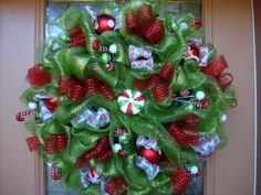 Deco Mesh Holiday Candy Christmas wreath