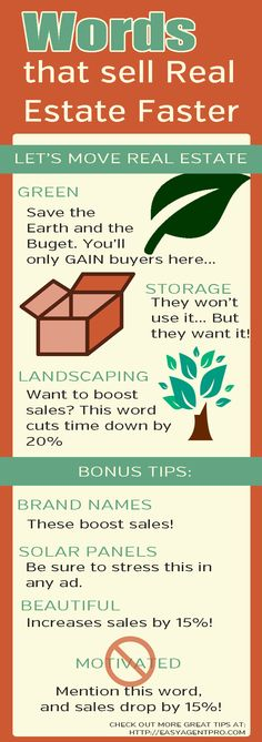 Words That Sell Real Estate Faster: Forget SEO and SEM! Just change up your vocabulary and focus on the sales your missing currently! Want to sell more real estate? Check out this infographic of words the convert WAY more on the market Real Estate Career, Real Estate Business, Real Estate News, Real Estate Broker, Selling Real Estate, Real Estate Sales, Real Estate Investing, Real Estate Marketing, Real Estate Articles