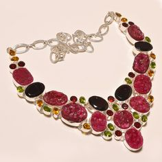 Mother's Day Jewellery – Garnet Druzy Gemstone 925Silver Statement Necklace – a unique product by IndianCraftPalace on DaWanda
