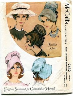 VINTAGE 1960 LOVELY FASHION SHEER AND SUNBONNET HAT SEWING PATTERN- UNUSED - # 1