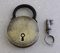 vintage padlock and key Double Lock, Under Lock And Key, Lock Up, Antique Keys, Vintage Keys, Skeleton Key Lock, Cool Lock, Old Keys, Knobs And Knockers