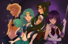 Outer sailor scouts by Watertae.deviantart.com on @deviantART