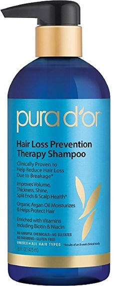 PURA DOR Hair Thinning Therapy Shampoo for Prevention Made with Organic Argan Oil  #HairLossShampoo