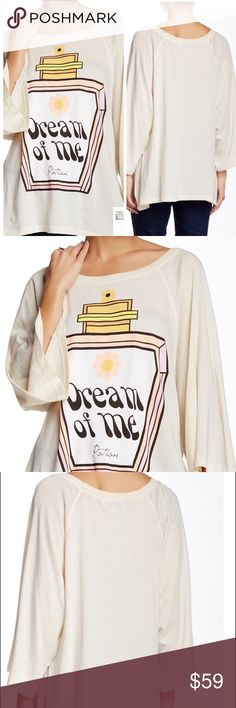 WILDFOX Dream Potion Oversized Raglan Tee WILDFOX Dream Potion Oversized Raglan Tee size S. Scoop neck, 3/4 raglan sleeves. Sharkbite hem, oversized fit. 26 1/2'length / 18' bust armpit to armpit. No lowballs, trades, modeling. 30% discount when using the bundle feature. Please LMK if you have any questions. Wildfox Tops