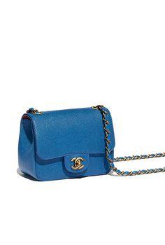 Bolsa, couro de novilho granulado & metal dourado-azul - CHANEL