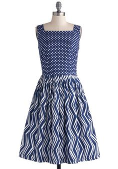 Backyard Birthday Party Dress by Bea & Dot - Blue, White, Polka Dots, Pockets, Sleeveless, Better, Private Label, Cotton, Woven, Chevron, Pl...