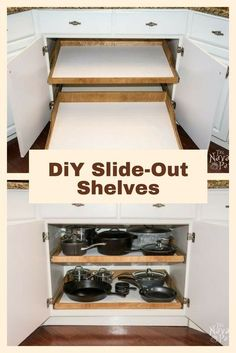 DiY Slide-Out Shelves - A husband and wife want more kitchen cabinet space, but instead of simply decluttering they do THIS! https://www.divesanddollar.com/octagon-kitchen-table/