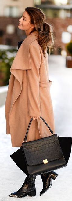 Camel Oversize Coat by Stylista