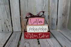 Valentines day decor . . . Love and XOXOXO . . . Valentine's Wood Block Stacker Gift Home Seasonal Personalized Block Decor