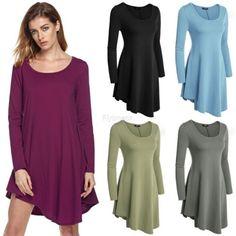 Fashion Women short T-shirt Dress loose Long Sleeve Brand New Spring Summer Fall | eBay