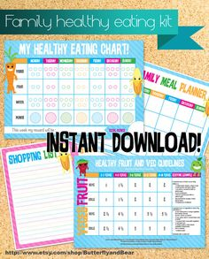 Downloadable Healthy Eating Family Kit for the family, Including a healthy eating reward chart, meal planner, shopping list and Australian guideline for serving sizes for fruit and vegetables. $5.00