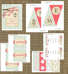 Printable Vintage Little Bird Baby Shower Invitation & Party Package - Coral and Aqua Shabby Chic Bird Shower