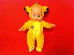 """VINTAGE BABY DOLL TOY CITITOY 1991 DISNEY SIMBA LION KING OUTFIT COSTUME 14"""" #Cititoy"""