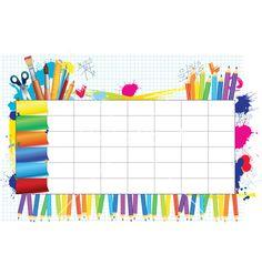 School timetable vector image on VectorStock Preschool Schedule, Kindergarten Activities, Class Timetable, Timetable Template, Boarder Designs, Kids Background, School Labels, School Frame, Infant Activities