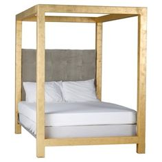 Check out this item at One Kings Lane! Luxe Linen Canopy Bed, Gold/Gray