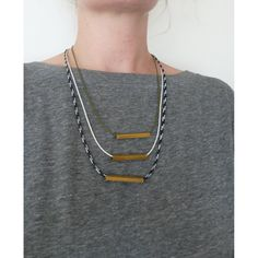Handmade tiered cord necklace with square brass tube by thelooksee