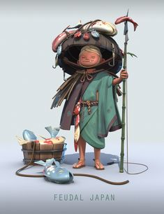 Our Favorite Feudal Japan Submissions Rendered in Toolbag Game Character Design, Character Creation, 3d Character, Character Concept, Concept Art, Game Design, Pen & Paper, Casual Art, Japan Outfit