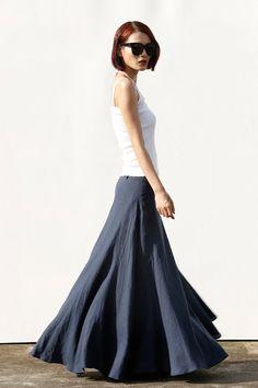 Romantic Maxi Skirt Long Linen Skirt in Navy by Sophiaclothing