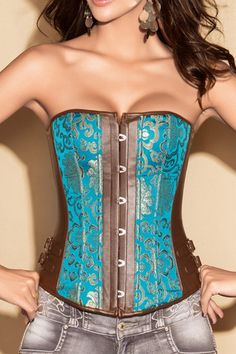 FREE SHIPPING Turquoise & Brown Corset Set by blondiebeach on Etsy, $34.99