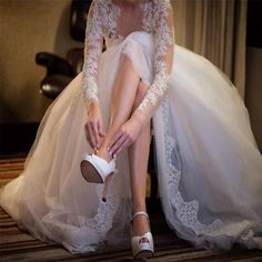 Charming Popular Long Sleeve Lace See Through Wedding Party Dresses, WD0049 The wedding dresses are fully lined, 4 bones in the bodice, chest pad in the bust, lace up back or zipper back are all avail