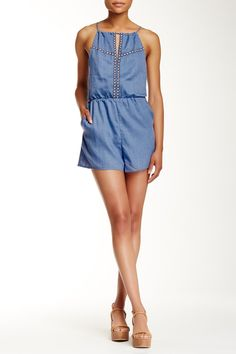 Embroidered Keyhole Romper by Lush on @nordstrom_rack