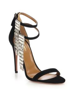 56a51f727ba4 Aquazzura Womens Metallic My Desire Jeweled Fringe Suede Sandals Size -- To  view further for this item