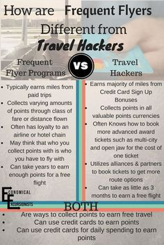 Many people don't undertand that while travel hacking uses frequent flyer programs, that they can still be very different. Basically, Travel Hacking is taking Frequent Flyer Programs and taking them to the EXTREME
