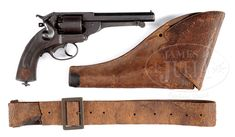 """EXCELLENT IDENTIFIED CONFEDERATE """"JS-ANCHOR"""" KERR REVOLVER WITH ORIGINAL HOLSTER AND BELT OF LT COL EDWARD LILES 31ST NORTH CAROLINA."""