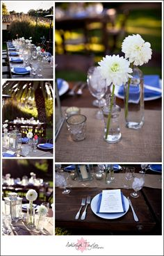 Harvest Tables with bud vases
