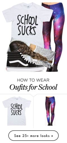 """School does suck! I hate mondays!!"" by assexyaswesley on Polyvore featuring Cosimia and Vans"