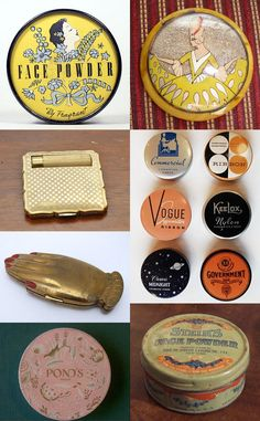 Vintage Hairstyles Retro Powder Boxes and Compacts Vintage Makeup Vanities, Vintage Vanity, Vintage Love, Vintage Beauty, Vintage Fashion, Logos Vintage, Vintage Ads, Vintage Trends, Makeup History