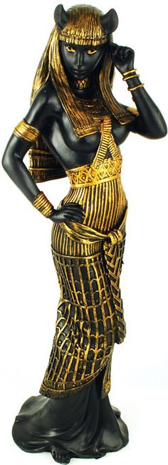 Shown here in her the form of a woman rather than a lion or a domestic cat, the ancient Egyptian goddess Bastet is portrayed as the epitome of the feminine divine. Regarded as a goddess who protected