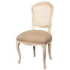 Genet French Country Antique White Birch Ecru Linen Dining Chair | Kathy Kuo…