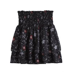 Smocked Floral Tiered High Waisted Skirt ($12) ❤ liked on Polyvore featuring skirts, floral print skirt, floral knee length skirt, smocked skirt, floral skirts and high-waisted skirt