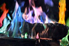 Coloured flames in fireplace!