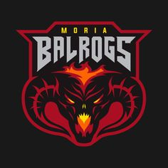 """Moria Balrogs Team Logo"" by ProlificPen Fictional team logo inspired by the aesthetics of American minor league hockey teams, and the Lord of the Rings. Tolkien, Lord Of Rings, Team Logo Design, Badge Design, Sports Team Logos, Sports Teams, Balrog, O Hobbit, Esports Logo"