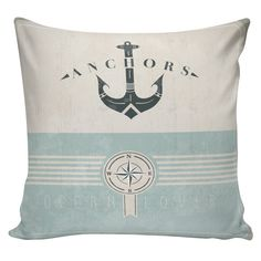 Beach Pillow Cushion Anchors Ocean Lover Gift Cotton and Burlap Pillow Cover NA-61 Nautical Elliott Heath Designs on Etsy, $35.00