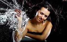Kobieta, Truskawki, Woda