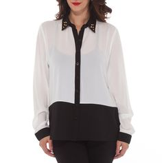 Colorblock Shirt with Embellished Collar