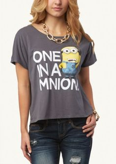 Minion Crop Boxy Tee | Get Graphic | rue21 Get a FREE #Minion backpack with a purchase of a #DespicableMe2 t-shirt at rue (in stores only, while supplies last)