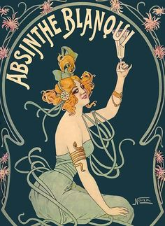 ABSINTHE BLANQUI Vintage French Liquor Advertising Poster CANVAS PRINT 17x22 in.  | eBay