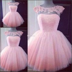 Cute Pink Homecoming Dresses 2016 With Cap Sleeves Sheer Neck Appliques Tulle Mini Length Custom Short Party Dress Prom Dress Fast Shipping Peach Homecoming Dresses, Puffy Prom Dresses, Dama Dresses, Cute Short Dresses, Cheap Party Dresses, Dress For Short Women, Pretty Dresses, Dress Prom, Dresses 2016