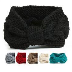 NISHAER Women's Chunky Knit Wide Headband Turban Styled Headwrap, Black, One size