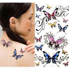 Modelo colorido de mariposa atractivo de la señora etiqueta engomada del tatuaje temporal arte corporal calcomanía