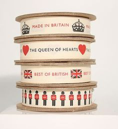 Buy British Jubilee Ribbon | jubilee-gifts  This collection of British ribbons has been created to celebrate the Queen's Diamond Jubilee. Four designs available: 'made in Britain' with crown, 'queen of hearts' with heart, 'best of British' with union jack, palace guards.  £4.99