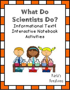 """This includes 3 different informational text passages about what scientists do (scientific method) with a color coding system to refer explicitly to the text for the answers. Then it has a passage about """"lab"""" safety and an interactive notebook activity. Finally, it has a passage about displaying data and an interactive notebook activity to go with that too."""