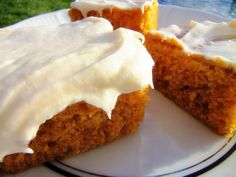 Pumpkin Squares With Cream Cheese Frosting.
